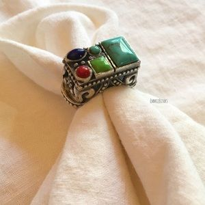 Vintage Sterling 924 Turquoise, Coral, Lapis Ring